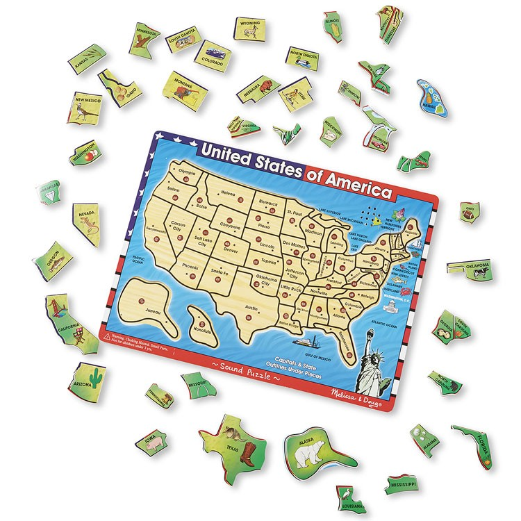 USA Map Wooden Sound Puzzle Educational Toys Planet - Texas map puzzle