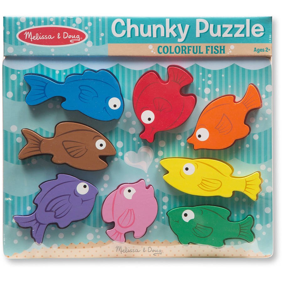 Colorful fish chunky wooden puzzle educational toys planet for Fishing net crossword clue