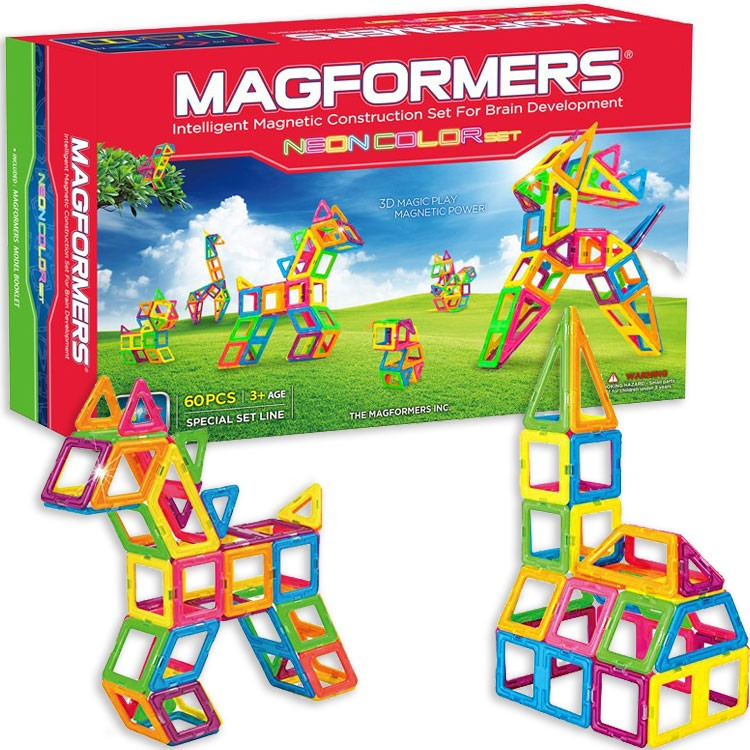 Toy Building Sets For 12 Year Olds : Magformers neon color pc magnetic construction set