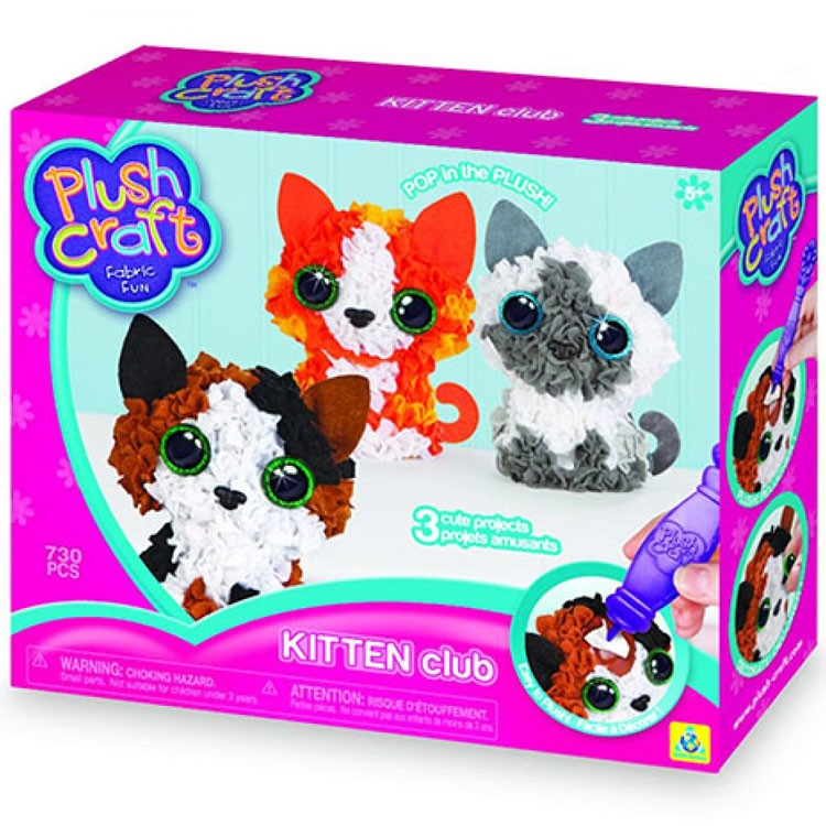 Plush Craft Animal Friends Pillow Kit : PlushCraft Kitten Club 3D Fabric Craft Kit - Educational Toys Planet