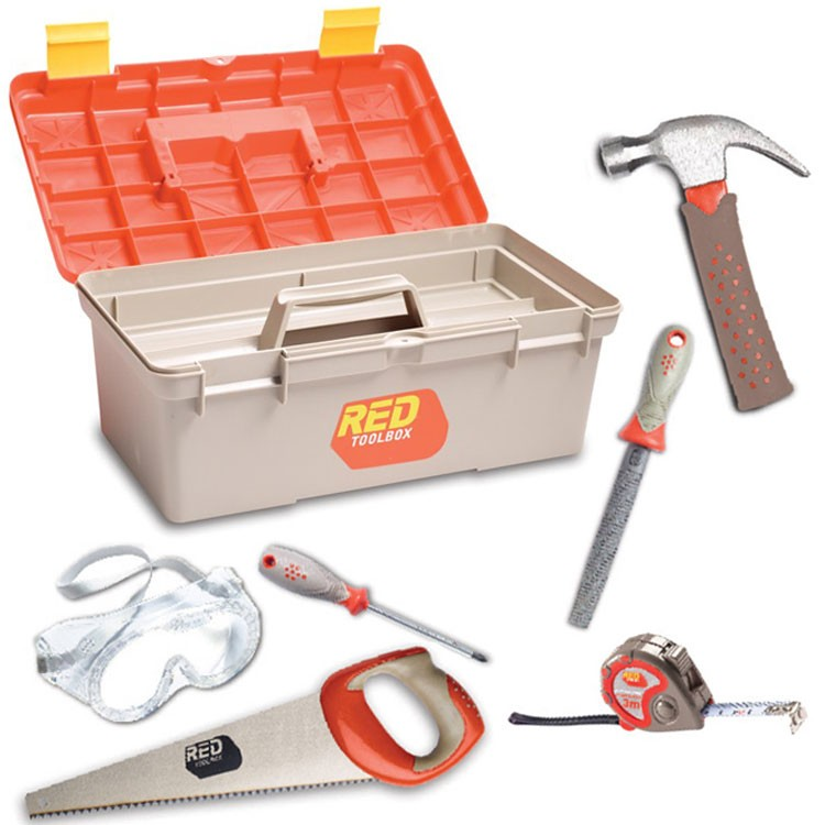 kids toolbox and 6 pc real tools toolset - educational toys planet