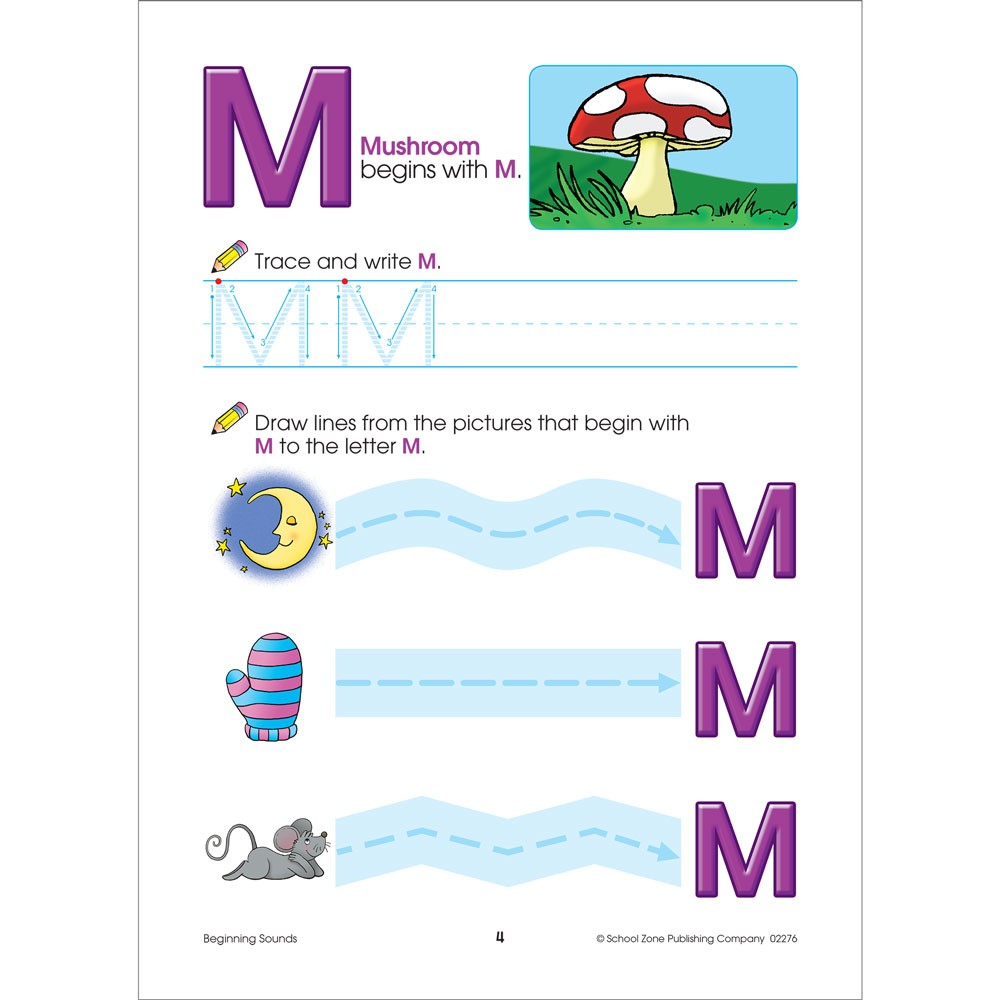 Beginning Sounds 64 Pages Preschool Workbook - Educational Toys Planet