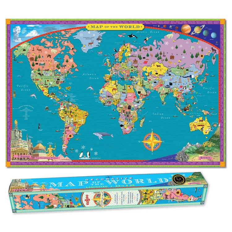 world map wall poster for kids educational toys planet. Black Bedroom Furniture Sets. Home Design Ideas