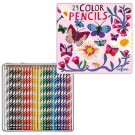 Butterflies & Flowers 24 Color Pencils in Tin Box
