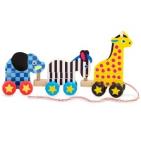 Pull-Along Zoo Animals Wooden Playset