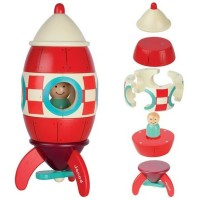 Rocket Magnetic Wooden Stacking Activity Toy
