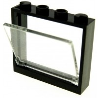 Lego City Window 1X4X3 Black Trans Clear Glass 1X4X3 X5
