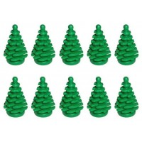 Lego New 10 Pcs Green Pine Tree Small 2X2X4 Plant Christmas City Town Building Forest Greenery