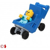 Lego Town City Minifigure Baby In Blue Stroller