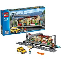 Lego City Train Station Building With Taxi And Rail Track Pieces