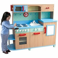 All in One Play Kitchen - Deluxe Wooden Kids Kitchen Set