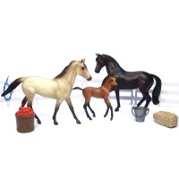 Sport Horse Family 3 Toy Horse Figurines Play Set