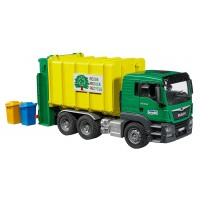 Bruder MAN TGS Rear Loading Garbage Truck - Green & Yellow