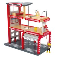 Fire Station Wooden Firehouse 8 pc Play Set