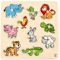 Friendly Animals 10 pc Knob Wooden Puzzle