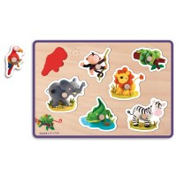 Jungle Animals Fleurus Sound Wooden Peg Puzzle - Janod
