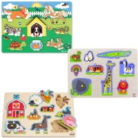 Animal Wooden Peg Puzzles for 2-3 years