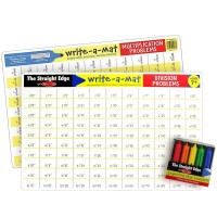 Math Skills 2 Learning Placemats & Wipe-off Crayons Set - Multiplication & Division