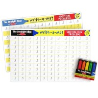 Math Skills 2 Learning Placemats & Wipe-off Crayons Set - Addition & Subtraction