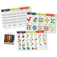Alphabet, Numbers & Counting to 100 - 3 Learning Mats & Wipe-off Crayons Kit