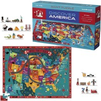 Discover America 100 US Map Puzzle & Play Set