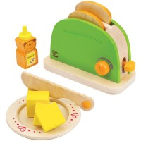 Pop-Up Toaster 10 pc Wooden Food Play Set