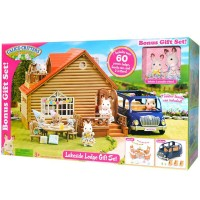 Calico Critters Lakeside Lodge 60 pc Dollhouse & Car Gift Set