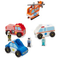 Emergency Vehicle Set 8 pc Wooden Toy