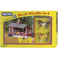 Red Stable with 2 Stablemates Horses Playset