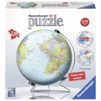 The Earth 540 pc World Globe 3D Puzzle with Rotation Stand