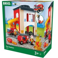 Brio Central Fire Station 12 pc Wooden Play Set