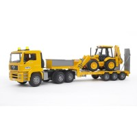 Bruder Toy Truck Set - MAN TGA Low Loader with JCB Backhoe Loader