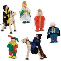 Castle Characters Figures 8 pc Wooden Play Set