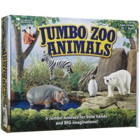 Jumbo Zoo Animals 5 pc Wild Animal Figurines Set