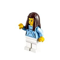 Lego City Minifigure Female Customer W Bright Light Blue Hoodie With Swirl Flower