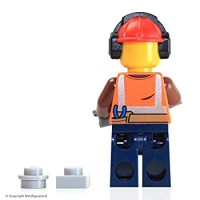 Lego City Minifigure Construction Worker W Headphones Orange Sunglasses Jack
