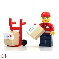 Lego City Minifigure Post Office Mail Delivery Man With Handtruck And Packages