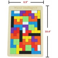Aiwan Lezhi Tetris Puzzle Tangram Jigsaw Brain Teasers Toy Building Blocks Game Colorful Wood