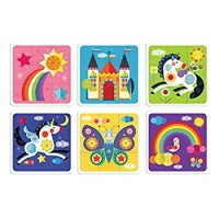 Mudpuppy Unicorn Rainbow Squares Puzzle 27 Doublesided Flat Square Pieces Create 6 Different