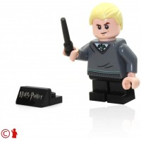 Lego 2018 Harry Potter Minifigure Draco Malfoy With Wand And Display Stand