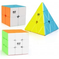 Dfantix Qiyi Stickerless Speed Cube Set Qidi S 2X2 Warrior W 3X3 Qiming Pyramid Magic Cube Puzzle