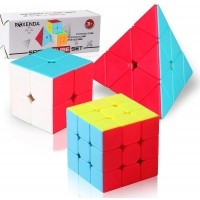 Speed Cube SetRoxenda Professional 2X2X2 3X3X3 Pyramid Cube Bundle Easy Turning And Smooth Play