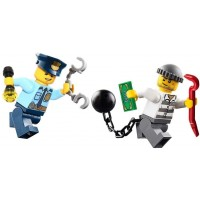 Lego City Police Minifigure Policeman And Jail Prisoner Chase With Accessories