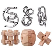 Yifan 6Pcs Iq Brain Teaser Puzzles Metal And Wood Mind Puzzle Games