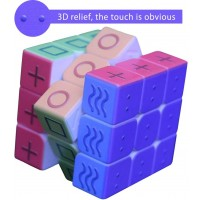 Plafueto 3D Magic Cube Puzzle Toy Speed Cube For The Blinds Person Or Partially Sighted Color