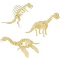 Cherish Tea 3 Piece Set 3D Wooden Crafts Puzzle Animal Dinosaur Diy Assembly Model Brain Teaser