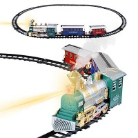 Train Set for Kids with Headlight, Realistic Sound and Smoke