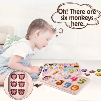 Iplay Ilearn Kids Wooden Peg Puzzles Play Set Alphabet Abc 123 Knob Jigsaw Board Magnetic Letters