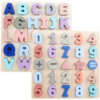 Gemem Wooden Alphabet Chunky Puzzles Abc Upper Case Letter And Number Wood Learning Board