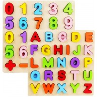 Alphabet Puzzle Set Wood City Abc Letter Number Puzzles For Toddlers 1 2 3 Years Old Educational
